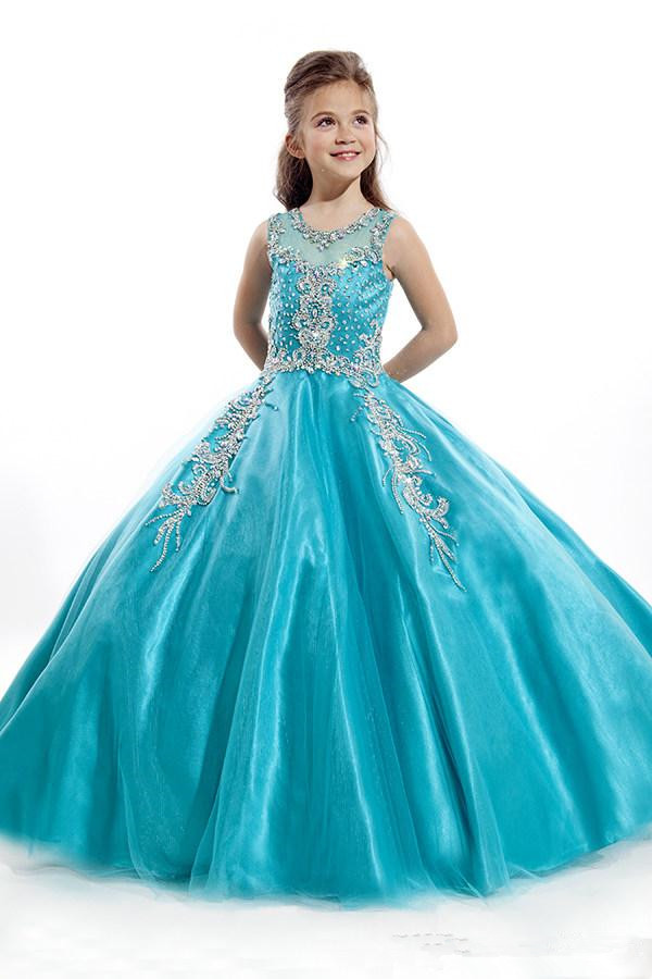 Showy Ball Gown Flower Girls\' Dresses Bateau Neck Blue Organza ...