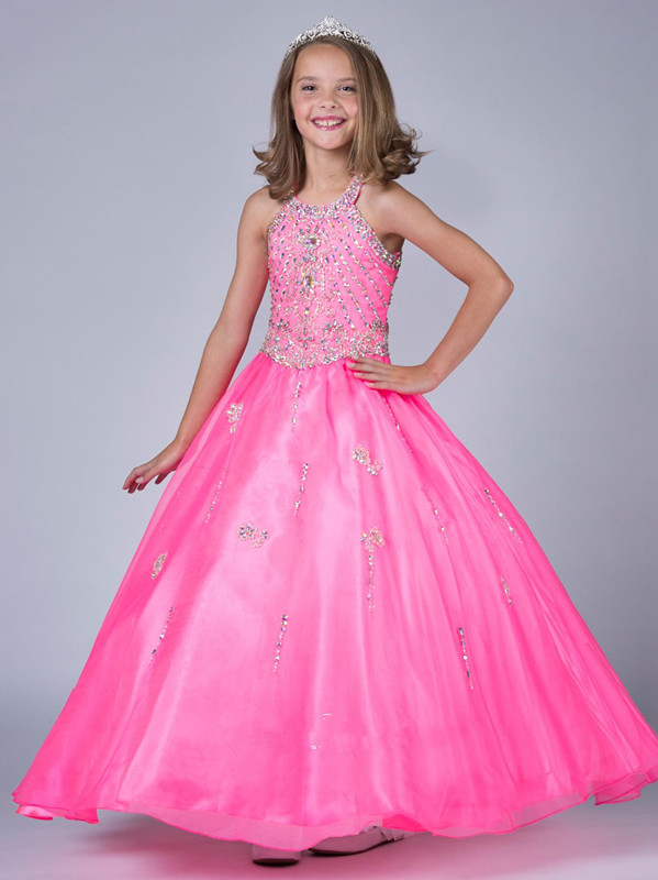 Pageant Girl Dresses Pink Halter Jewel Crystal Little Rosie Tulle ...