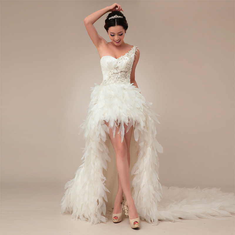 ceca55b495f5 One-Shoulder Beaded Feather High-Low Wedding Dress With Long Train ...