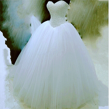 WDH5 Puffy Tulle Ball Gown Wedding Dresses 2016 Beaded Vestido De ...