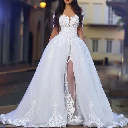 2016 Sweetheart Neck Arabic Middle East Wedding Dresses With Sheer ...