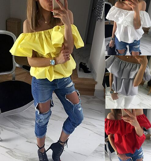 1099779db4c 2016 New sexy Women's Tops Word Shoulder Wrapped Chest Short Sleeved T-shirth  NZ71