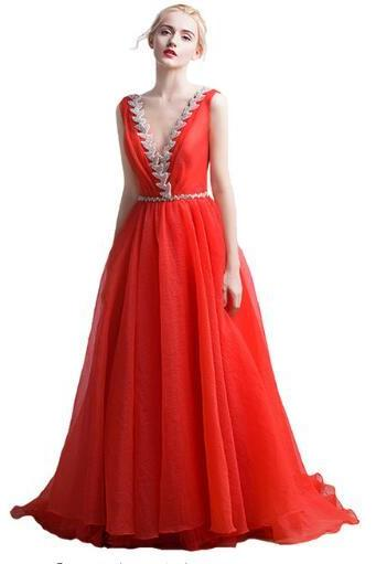 Evening dress 2017 New V-neckline long-haired dress Sexy sequins Elegant formal red crepe paper Women's party evening dress