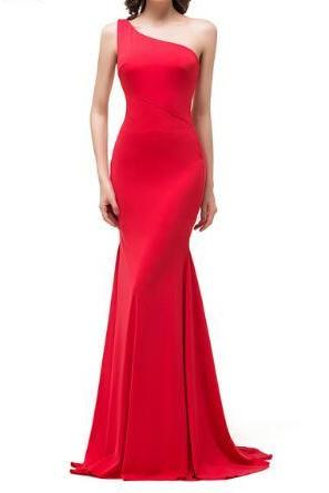 Sexy One Shoulder Red Long Evening Dresses 2017 Stylish Specious Length Mermaid Formal Evening Dress Party Dress Evening Dress