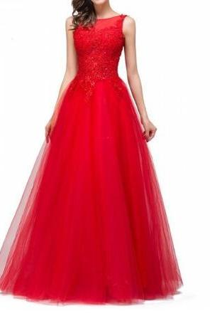 Cheap Women Evening Dresses 2017 Dresses Of Soriee Long Sexy LaceEvening Dresses Red Appliques Formal Party Dress