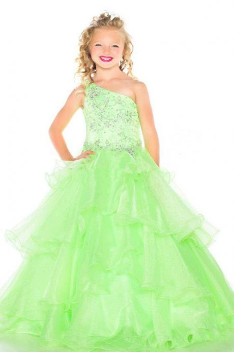 Shinning One Shoulder Beads Green Royal Blue Tulle Ball Gowns Party Dress for Girls Ruffles Girls Pageant Dresses
