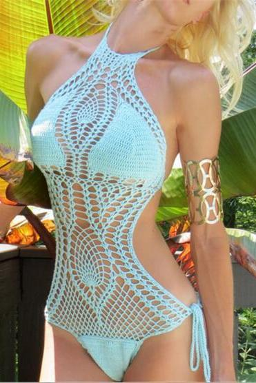 2017 Sexy Women Bathing Suit Lace Hollow Crochet Bikini Cover Up Swimwear Summer Beach Dress Fashionable Women's Knit Dress NZ213