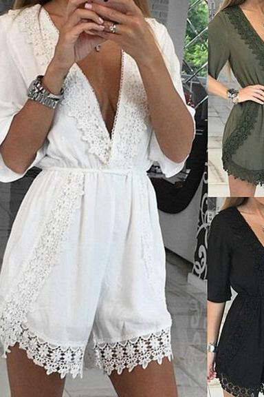 2017 New Summer Women Casual Fashion Loose Suspenders Rompers Sexy V-neck Beach Playsuit Rompers NZ246