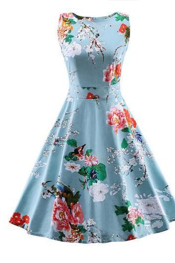 Floral Printed A-Line Midi Sleeveless Dress - Blue