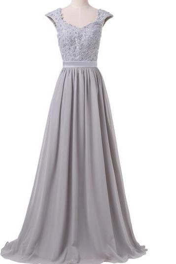 2017 Women's elegant gray dress A-line length of the floor fashion prom dresses waist women beaded evening dress